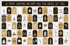 Kort för etiketter för gåva för tappning för glad jul för enorm samling och för lyckligt nytt år med kalligrafi Arkivfoto