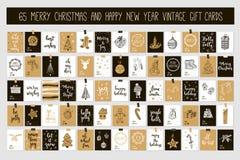 Kort för etiketter för gåva för tappning för glad jul för enorm samling och för lyckligt nytt år med kalligrafi Arkivfoton