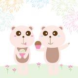 Kort för födelsedag för pastellfärgad färg för björn vektor illustrationer