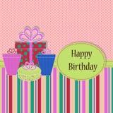 Kort för födelsedagmallhälsning stock illustrationer