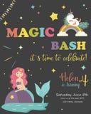 Kort för födelsedagparti med enhörningen och sjöjungfrun vektor illustrationer