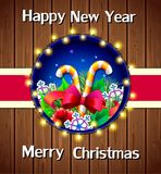 Kort för feriekort-jul hälsning på träbakgrund royaltyfri illustrationer
