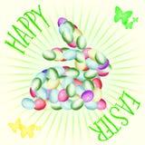 Kort för fyrkanteaster hälsning, kaninform med easter ägg och text lyckliga easter arkivfoton