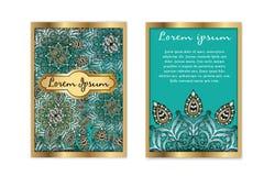 Kort för gåva för vektormalltappning lyxigt Blom- mandalamodellbakgrund Nationell designorientering Islam arabiska stock illustrationer