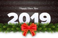 Kort 2019 för gåva för nytt år för ferie med den granträdfilialer, pilbågen och snö på träbakgrund royaltyfri illustrationer