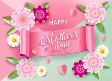 Kort för garnering för blomning för hälsning för dag för moder` s blom- stock illustrationer