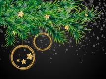 Kort för garnering för boll för julxmas-träd stock illustrationer