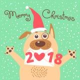 Kort för glad jul 2018 med hunden Den roliga valpen gratulerar på ferie stock illustrationer