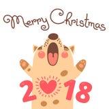 Kort för glad jul 2018 med hunden Den roliga valpen gratulerar på ferie vektor illustrationer