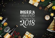 Kort för glad jul 2018 med svarta och guld- julbeståndsdelar Arkivfoton