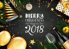 Kort för glad jul 2018 med svarta och guld- julbeståndsdelar Royaltyfria Bilder