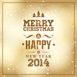 Kort för glad jul och för lyckligt nytt år Royaltyfri Foto