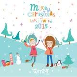 Kort för glad jul och för nytt år i vektor Fotografering för Bildbyråer