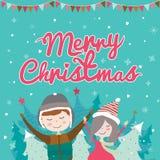 Kort för glad jul och för nytt år i vektor Arkivfoto