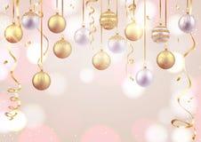 Kort för glad jul och för lyckligt nytt år, dekorativa bollar på mjuk bakgrund stock illustrationer