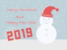 Kort för glad jul och för lyckligt nytt år 2019 har en eskimågåvaask på turkosbakgrund royaltyfri illustrationer