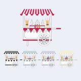Kort för godisvagnsmarknad Sale av sötsaker och godisar på gatan också vektor för coreldrawillustration Royaltyfri Foto