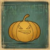 Kort för grunge för tappning EPS10 gammalt sniden halloween pumpa stock illustrationer