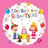 Kort för hälsning Alles Gute zumGeburtstag Deutsch tyskt för lycklig födelsedag Arkivfoto