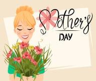 Kort för hälsning för dag för moder` s Härlig kvinna som rymmer en bukett av blommor stock illustrationer