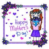Kort för hälsning för dag för moder` s handgjort Simulering för teckning för barn` s Flickan ger buketten av blommor till hennes  royaltyfri illustrationer
