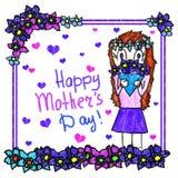 Kort för hälsning för dag för moder` s handgjort Simulering för teckning för barn` s Flickan ger buketten av blommor till hennes  stock illustrationer