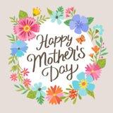 Kort för hälsning för dag för moder` s med en härlig kransdesign Royaltyfri Foto