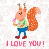 Kort för hälsning för dag för valentin` s med ekorren Arkivfoton
