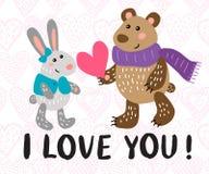 Kort för hälsning för dag för valentin` s med kanin och björnen Arkivfoton