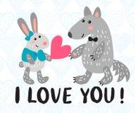 Kort för hälsning för dag för valentin` s med kanin och vargen Arkivbild