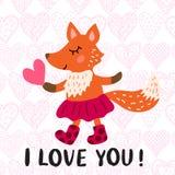 Kort för hälsning för dag för valentin` s med räven Fotografering för Bildbyråer