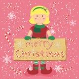 Kort för hälsning för brädegodisCane Christmas Elf Blonde Girl vektor Royaltyfri Fotografi
