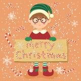 Kort för hälsning för brädegodisCane Christmas Elf Glasses Boy vektor Arkivbilder