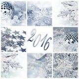2016 kort för hälsning för collage för silverjulprydnader arkivfoto