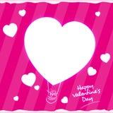 Kort för hälsning för dag för ballonghjärtavalentin Fotografering för Bildbyråer