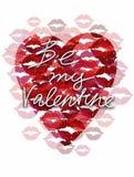 Kort för hälsning för dag för hjärtakyssvalentin royaltyfri illustrationer
