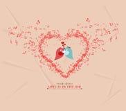 Kort för hälsning för fågel för par för elementsand för valentindagmusik Royaltyfri Fotografi
