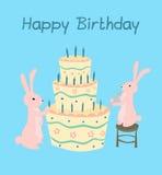Kort för hälsning för födelsedagkaka Arkivfoto