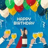 Kort för hälsning för födelsedagparti i en plan stil royaltyfri illustrationer