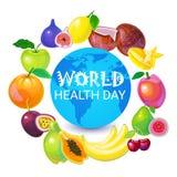 Kort för hälsning för ferie för vård- dag för värld för jordplanet globalt royaltyfri illustrationer