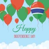 Kort för hälsning för Gambia självständighetsdagenlägenhet Royaltyfri Illustrationer