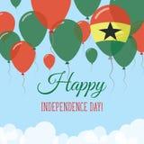 Kort för hälsning för Ghana självständighetsdagenlägenhet Royaltyfri Illustrationer