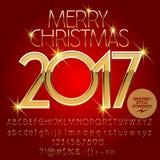 Kort 2017 för hälsning för glad jul för vektor guld- Arkivbild