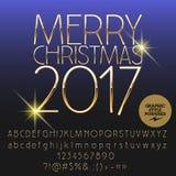Kort 2017 för hälsning för glad jul för vektor skinande Royaltyfria Foton