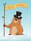 Kort för hälsning för Groundhog dag Arkivfoto