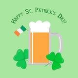 Kort för hälsning för helgonPatricks dag med öl Royaltyfri Illustrationer