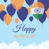 Kort för hälsning för Indien självständighetsdagenlägenhet Vektor Illustrationer