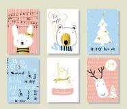 Kort för hälsning för jul för förälskelse för ljusa svarta rosa färgblått guld- med rab Fotografering för Bildbyråer