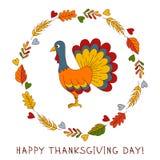 Kort för hälsning för klotter för tacksägelsedagkalkon gulligt vektor illustrationer