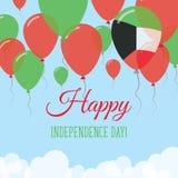 Kort för hälsning för Kuwait självständighetsdagenlägenhet Royaltyfri Illustrationer